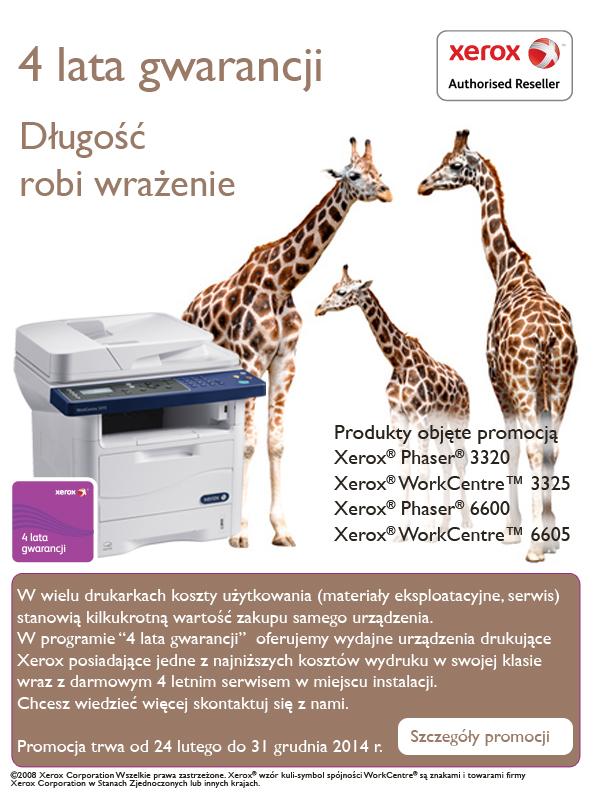 Urządzenia Xerox z 4-letnią gwarancją!